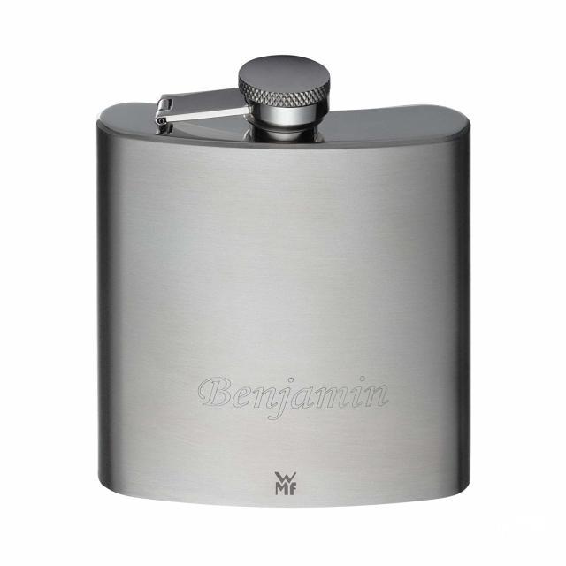 福腾宝(WMF)WMF福腾宝Manhattan酒壶6件套,带漏斗,便携式酒杯置于皮套中,Cromargan亚光不锈钢材质,高13cm,容量20cl