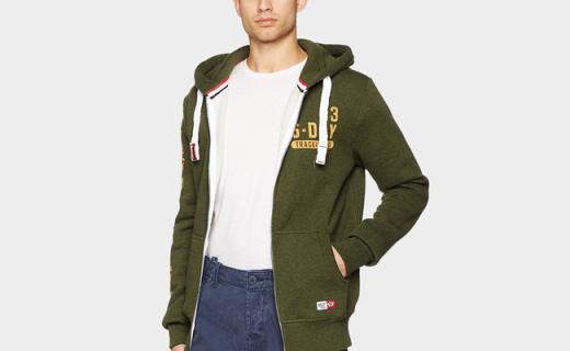 Superdry连帽开衫:帅气有型又休闲,军绿色百搭好看