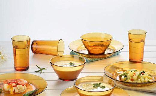 多莱斯琥珀色餐具套装:一体成型工艺,不易沾染油污
