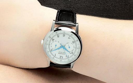西铁城AO9000-06B光动能腕表:小牛皮表带,双日历显示更实用