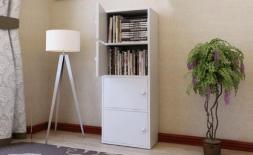 雅美乐四层书柜:带门设计更整洁,优雅暖白色彰显品位