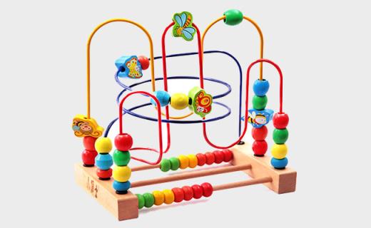 小硕士串珠绕珠木制玩具:天然榉木无毒无味,锻炼手眼协调