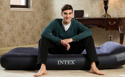 Intex户外气垫床:内置枕头易收纳,户外携带十分便利