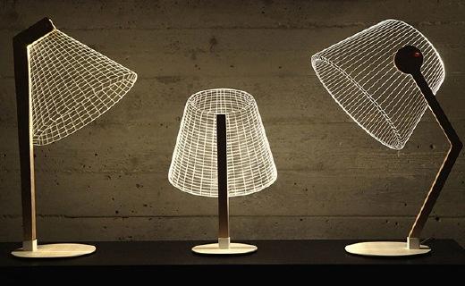 环保耐用的错觉台灯,薄薄一片呈现立体效果
