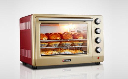 海氏电烤箱:镀铝内胆循环烘烤,大容量设计为吃货而生