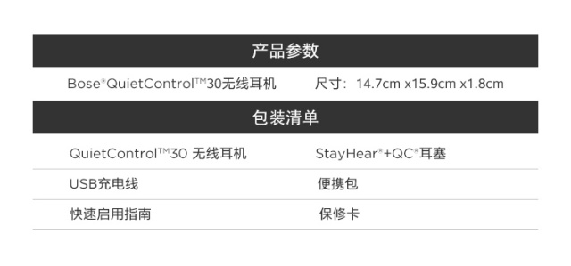 博士(Bose)QuietControl30无线耳机