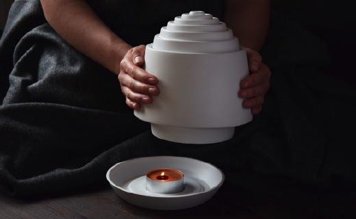 一支蜡烛即可取暖,陶瓷材质的模拟取暖器