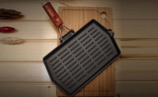 Lintore牛排煎锅:原生铁块铸造而成,导热均匀口感更好