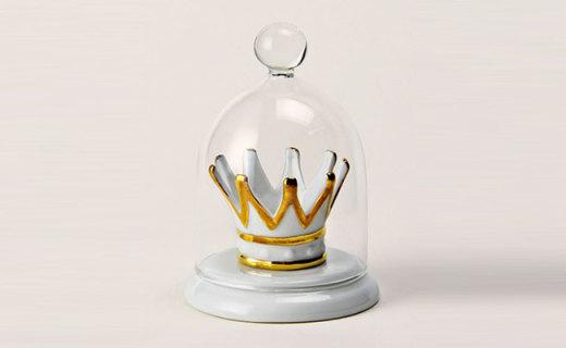 IMM Living收纳盘:温润细腻白瓷材质,金边皇冠宫廷气质