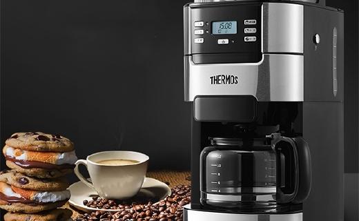 膳魔师全自动咖啡机 :可调节研磨粗度,保温底盘保持口感新鲜