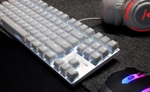 雷柏V500S机械键盘:冰晶剔透键帽,清脆青轴全键无冲