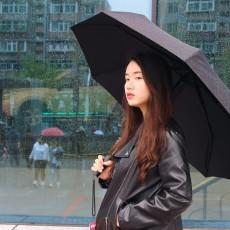 结实轻巧 超强防泼水伞布,米家自动折叠雨伞体验
