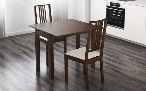 IKEA比约斯餐桌:伸缩设计节省空间,实心木材稳定结实