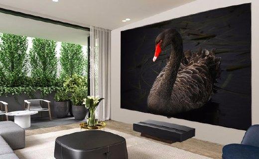 极米双色激光电视T1:120英寸大屏4K分辨率、黑胡桃木机身