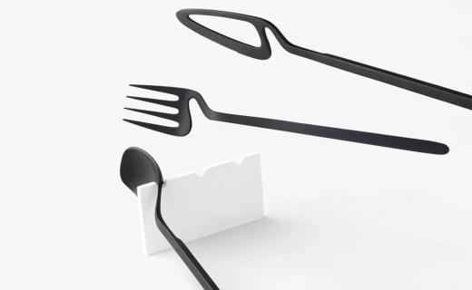 nendo骨架系列餐具:随时随地挂到墙上