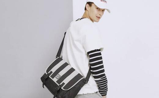 Storm Stamps单肩包:条纹时尚拼接,大容量帅气出街