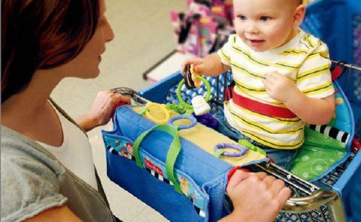 费雪购物车坐垫:附带三种可连结玩具,方便携带易于清洁