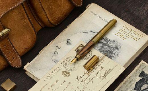 意外设计时光钢笔:名贵实木优质黄铜,精细笔尖严谨工艺