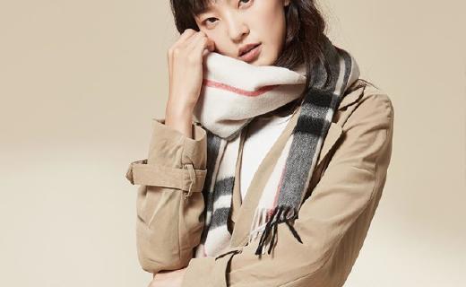 网易严选羊绒格纹围巾:100%纯羊绒温暖舒适,梭织工艺不变形