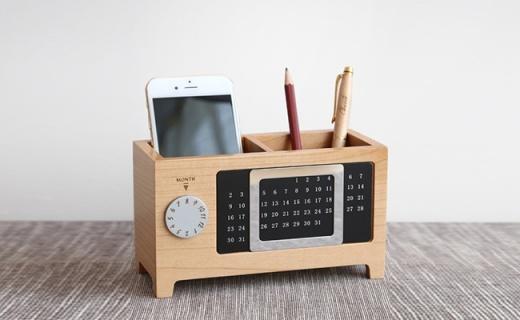 初心木质收纳盒:进口枫木材质自然素雅,带有万年历功能