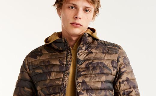 PullAndBear男士绗缝夹克:高密涤纶轻盈耐穿,迷彩配色时尚百搭