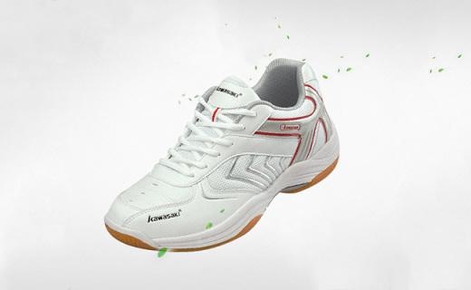 川崎K-003羽毛球鞋:流线设计透气不捂脚,橡胶大底防滑耐磨