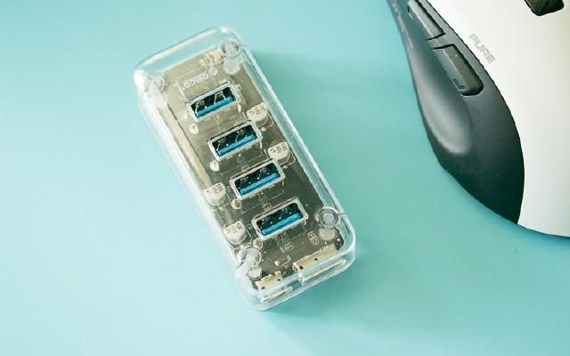 讓桌面更漂亮,手指大的透明USB 一分四高速集線器