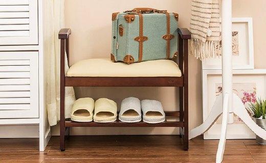 越茂实木换鞋凳:实木材质坚固稳定,三档调节换鞋不费劲儿