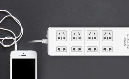 奥睿科插线板:高度阻燃防浪涌保护,多孔位设计满足用电需求
