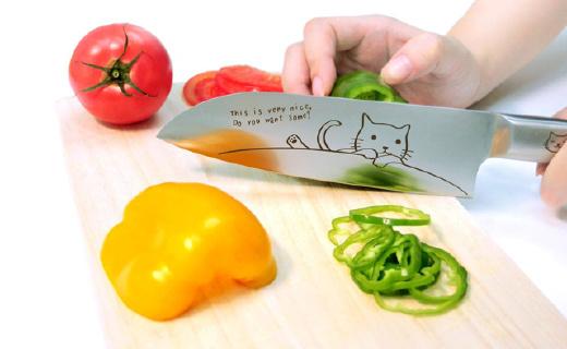激光雕刻小猫的萌萌菜刀,切菜溜得飞起!