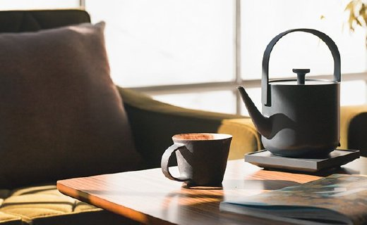 茶素材电热茶壶:日本优良设计获奖作品,一按开启式烧水设计