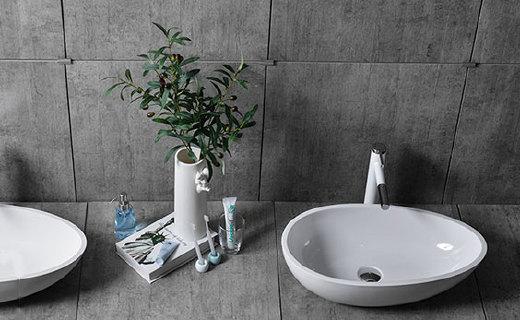 观博异型洗漱盆:采用新型材料,不易泛黄易清洁