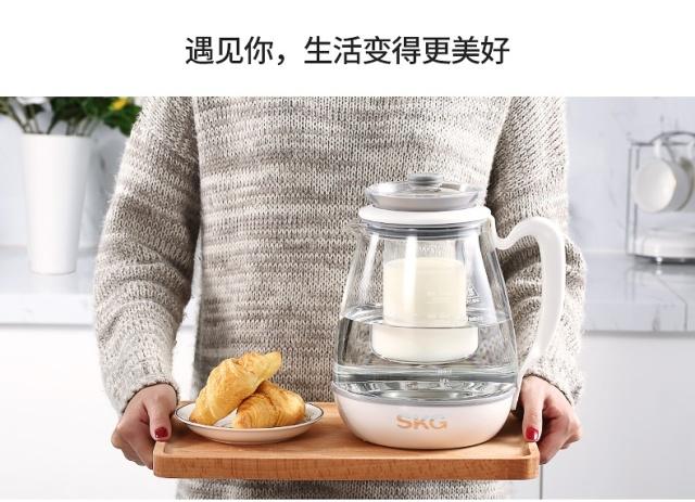 SKG陶瓷白高端燕窝养生壶