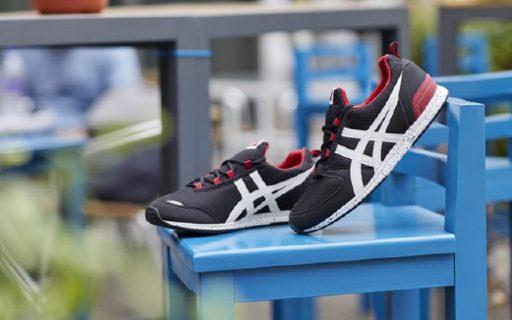 Onitsuka Tige运动鞋:黑红撞色搭配,网面皮革透气舒适