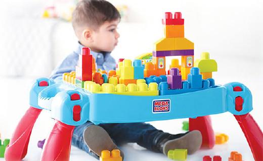 美高儿童趣味积木桌:自带储物盒好收纳